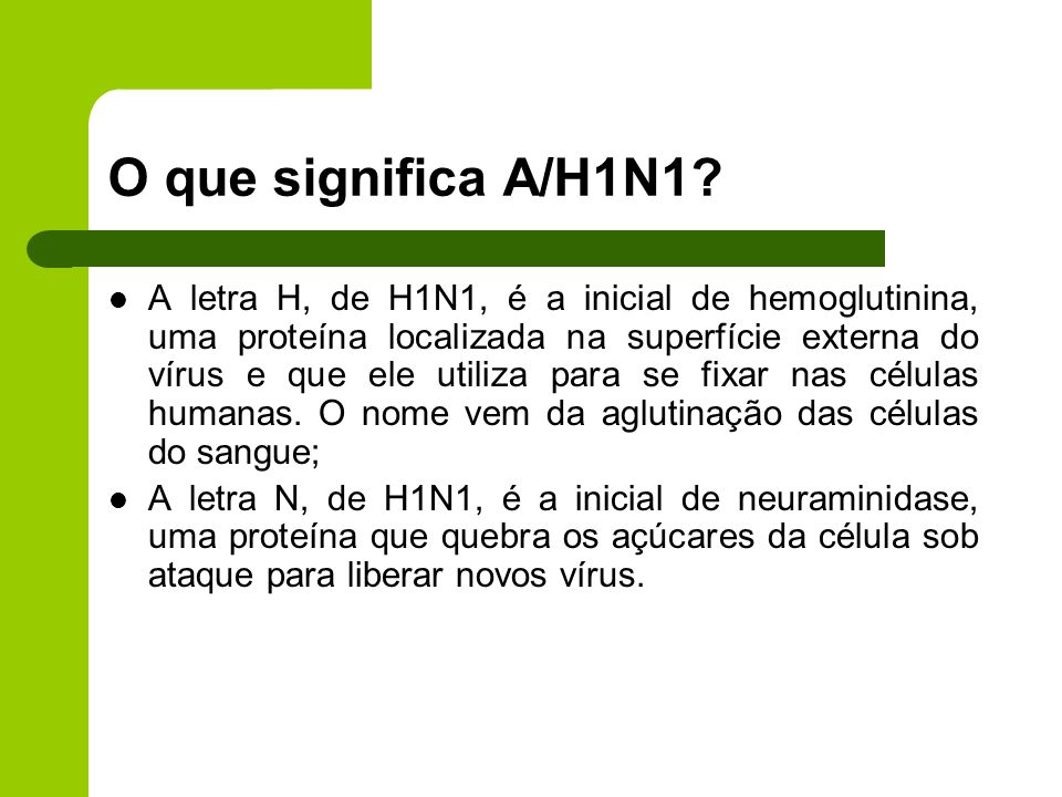 O que significa A/H1N1