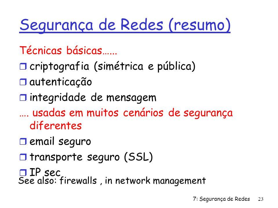 Segurança de Redes (resumo)