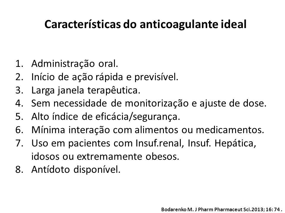 Características do anticoagulante ideal