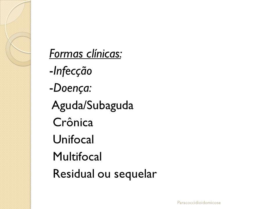 Formas clínicas: -Infecção -Doença: Aguda/Subaguda Crônica Unifocal Multifocal Residual ou sequelar