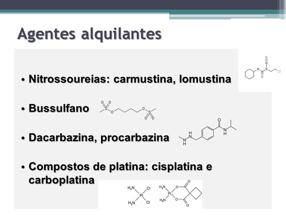 Agentes alquilantes Nitrossoureias: carmustina, lomustina Bussulfano