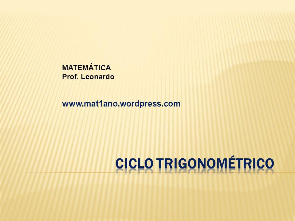 CICLO TRIGONOMÉTRICO www.mat1ano.wordpress.com MATEMÁTICA