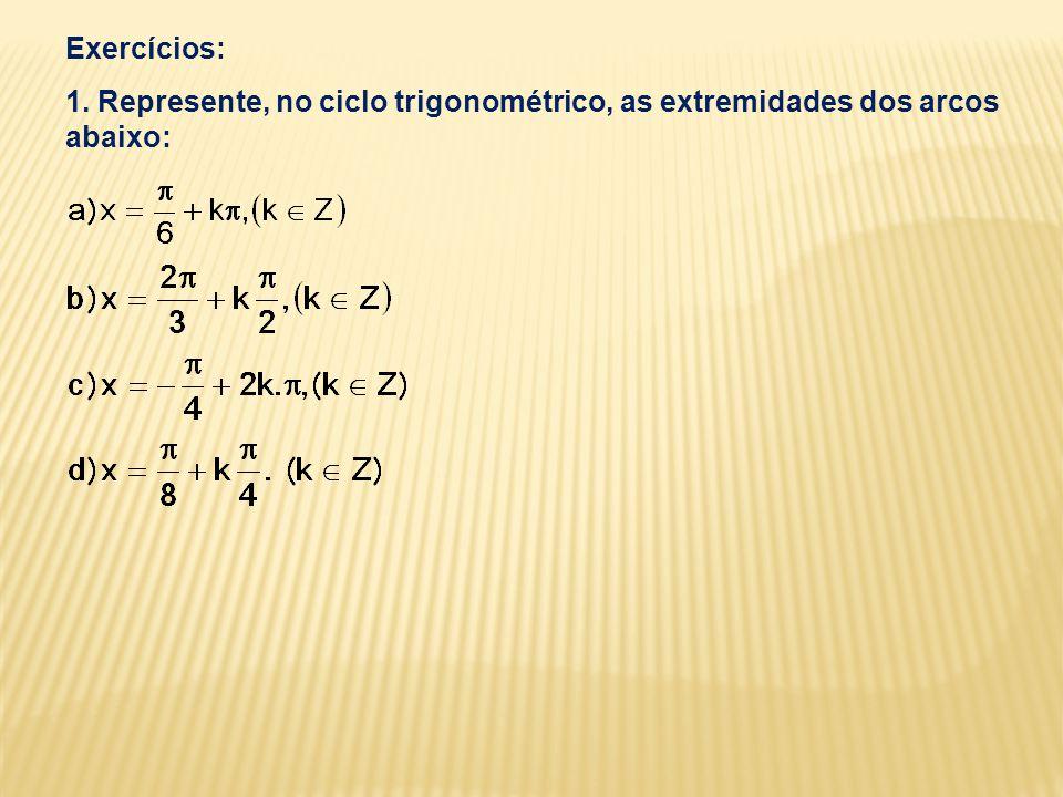 Exercícios: 1. Represente, no ciclo trigonométrico, as extremidades dos arcos abaixo: