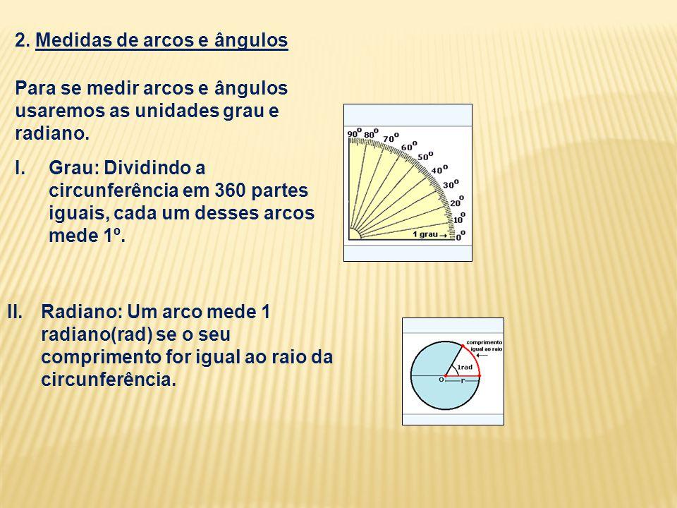 2. Medidas de arcos e ângulos