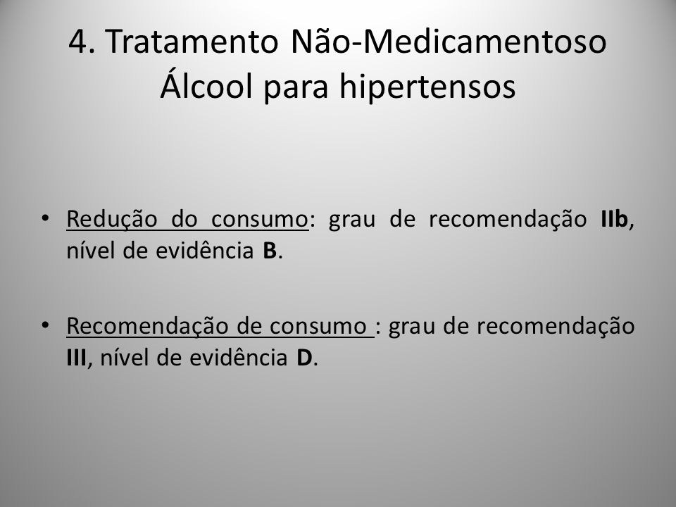 4. Tratamento Não-Medicamentoso Álcool para hipertensos
