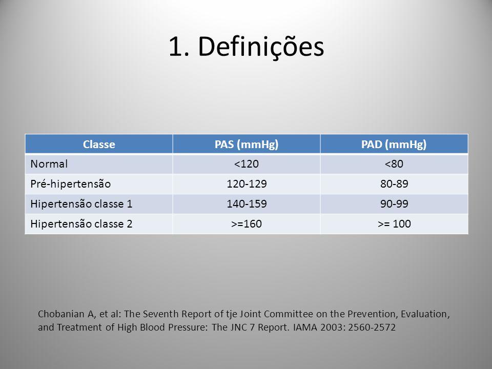 1. Definições Classe PAS (mmHg) PAD (mmHg) Normal <120 <80