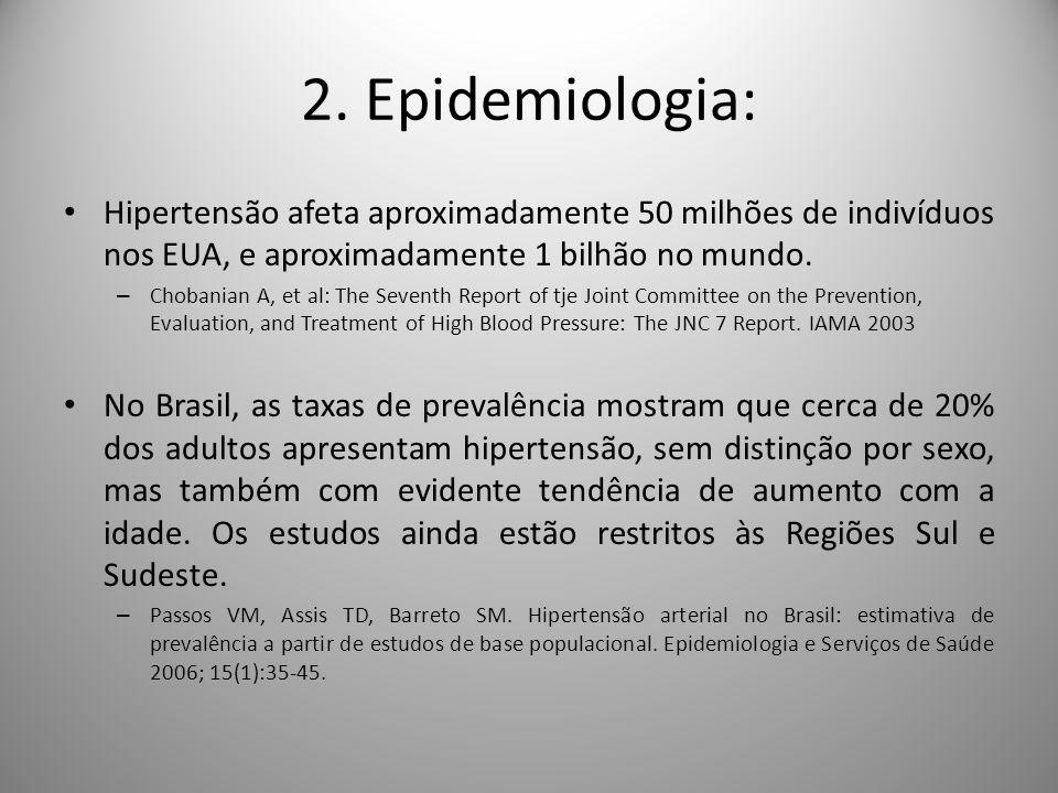2. Epidemiologia: Hipertensão afeta aproximadamente 50 milhões de indivíduos nos EUA, e aproximadamente 1 bilhão no mundo.