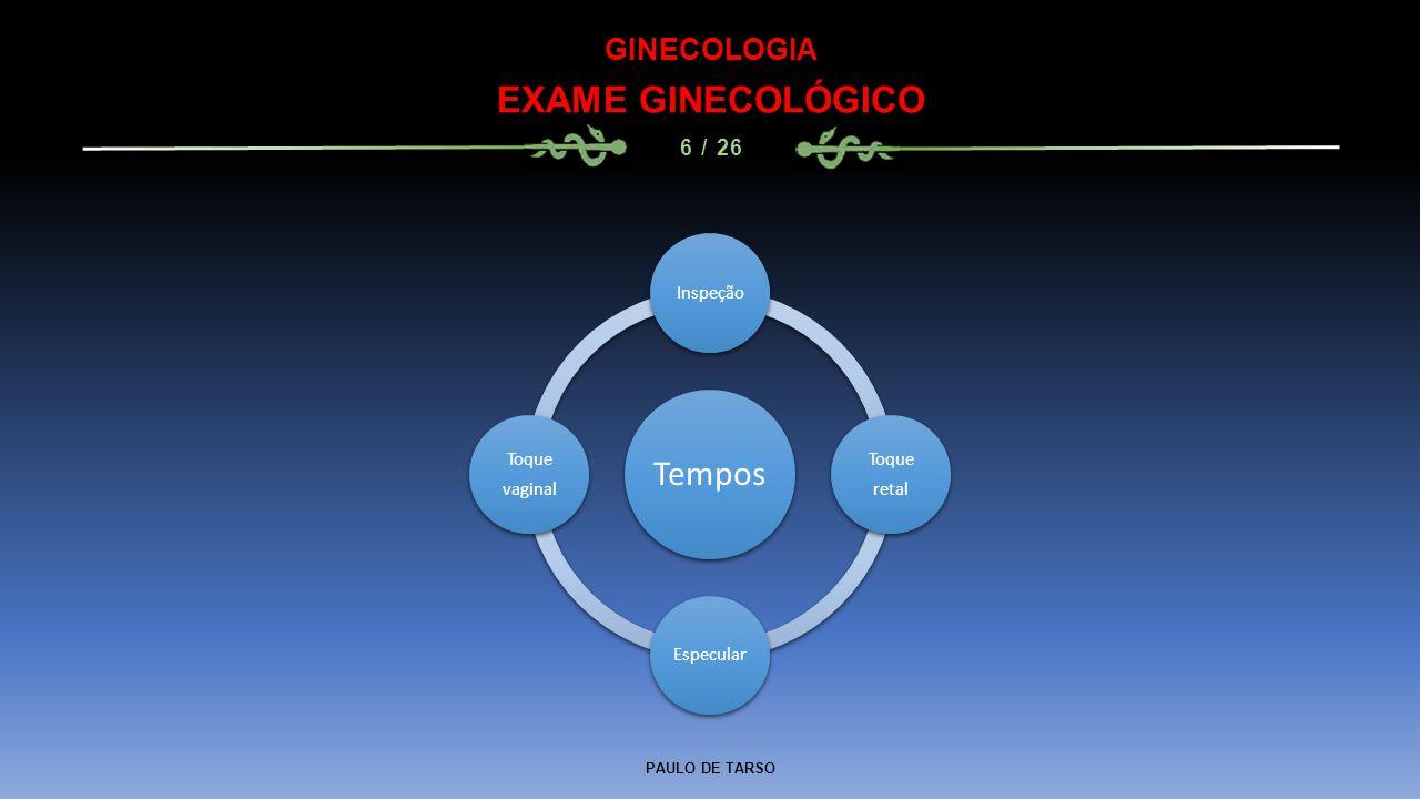 EXAME GINECOLÓGICO Tempos GINECOLOGIA 6 / 26 Inspeção Toque retal
