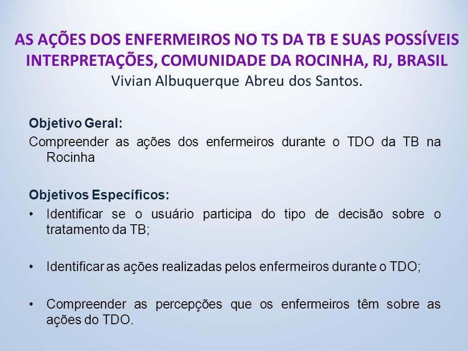 AS AÇÕES DOS ENFERMEIROS NO TS DA TB E SUAS POSSÍVEIS INTERPRETAÇÕES, COMUNIDADE DA ROCINHA, RJ, BRASIL Vivian Albuquerque Abreu dos Santos.