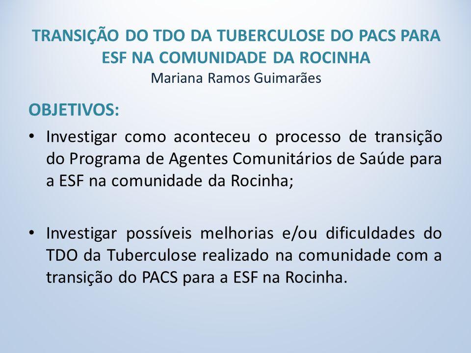 TRANSIÇÃO DO TDO DA TUBERCULOSE DO PACS PARA ESF NA COMUNIDADE DA ROCINHA Mariana Ramos Guimarães