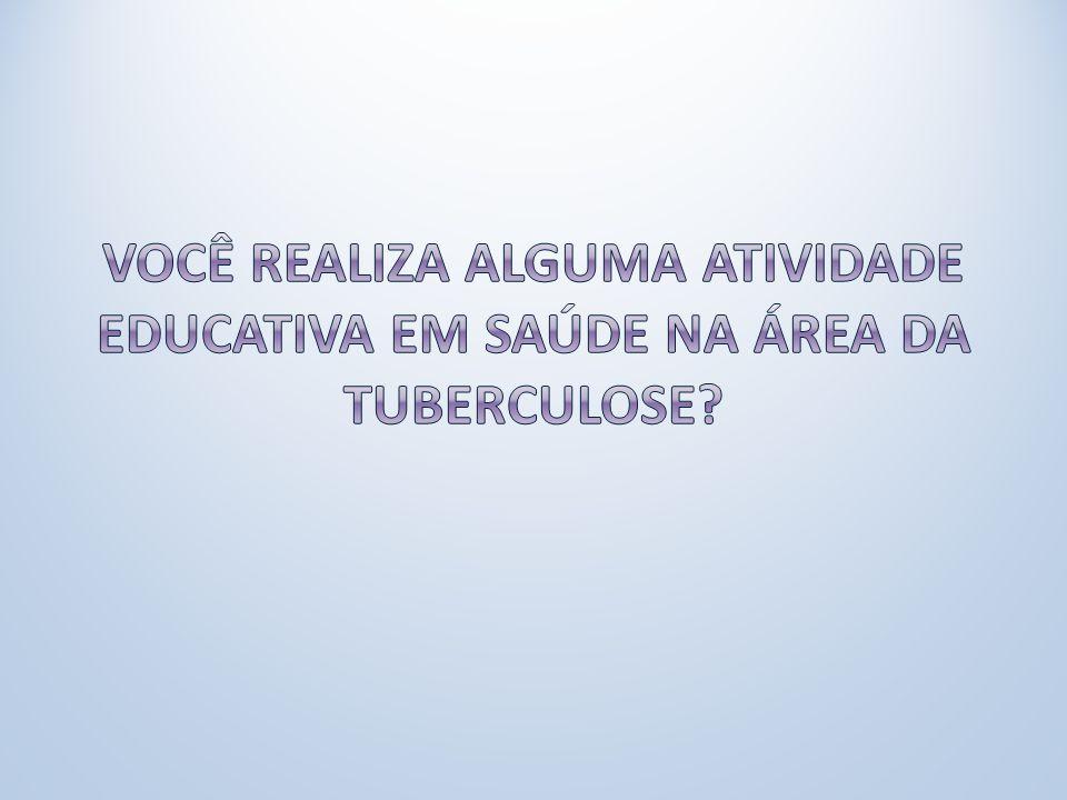 Você realiza alguma atividade educativa em saúde na área da Tuberculose