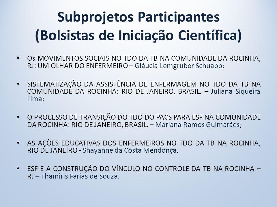 Subprojetos Participantes (Bolsistas de Iniciação Científica)