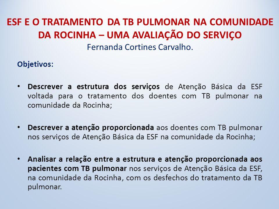 ESF E O TRATAMENTO DA TB PULMONAR NA COMUNIDADE DA ROCINHA – UMA AVALIAÇÃO DO SERVIÇO Fernanda Cortines Carvalho.