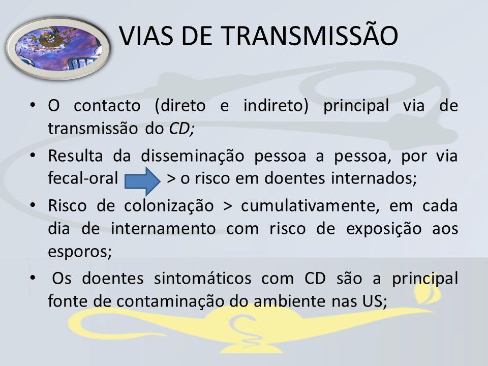 VIAS DE TRANSMISSÃO O contacto (direto e indireto) principal via de transmissão do CD;