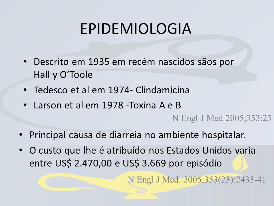 EPIDEMIOLOGIA Descrito em 1935 em recém nascidos sãos por Hall y O'Toole. Tedesco et al em 1974- Clindamicina.