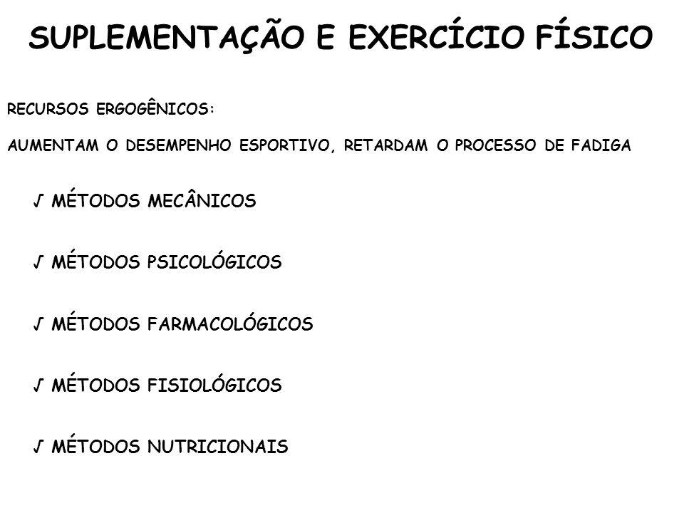 SUPLEMENTAÇÃO E EXERCÍCIO FÍSICO