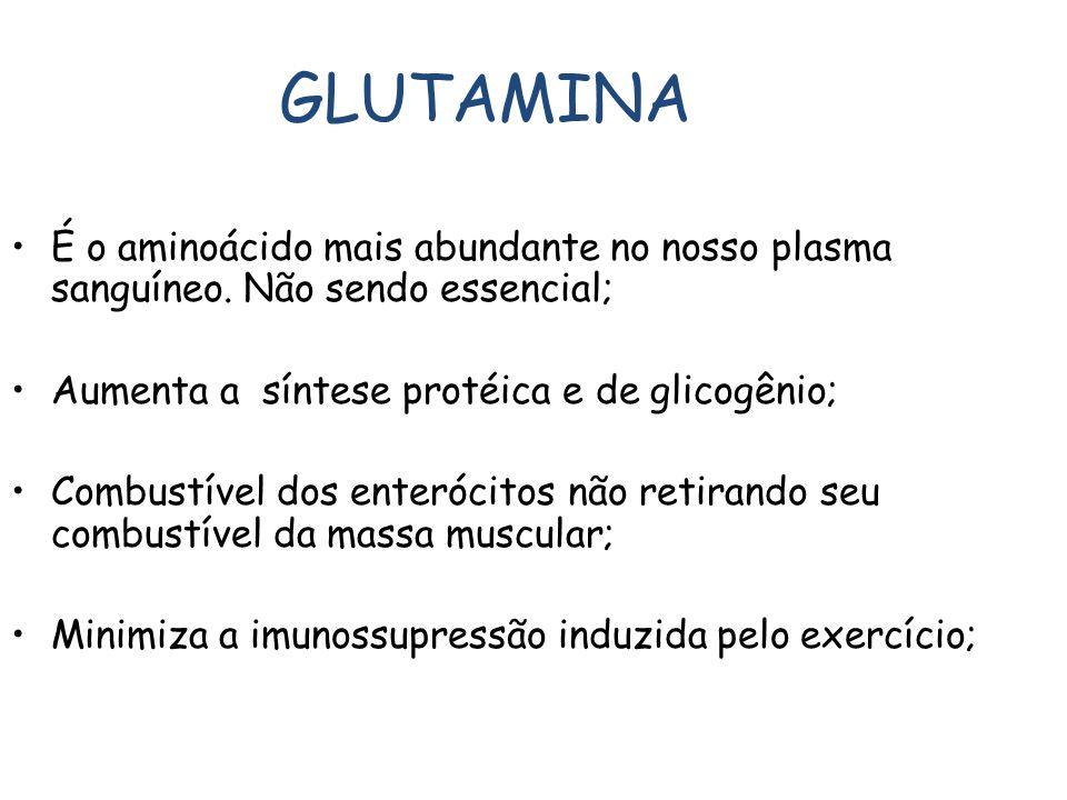 GLUTAMINA É o aminoácido mais abundante no nosso plasma sanguíneo. Não sendo essencial; Aumenta a síntese protéica e de glicogênio; F.