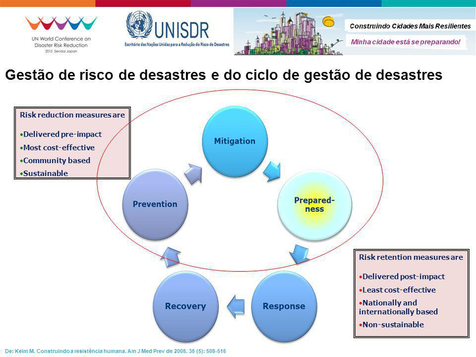 Gestão de risco de desastres e do ciclo de gestão de desastres