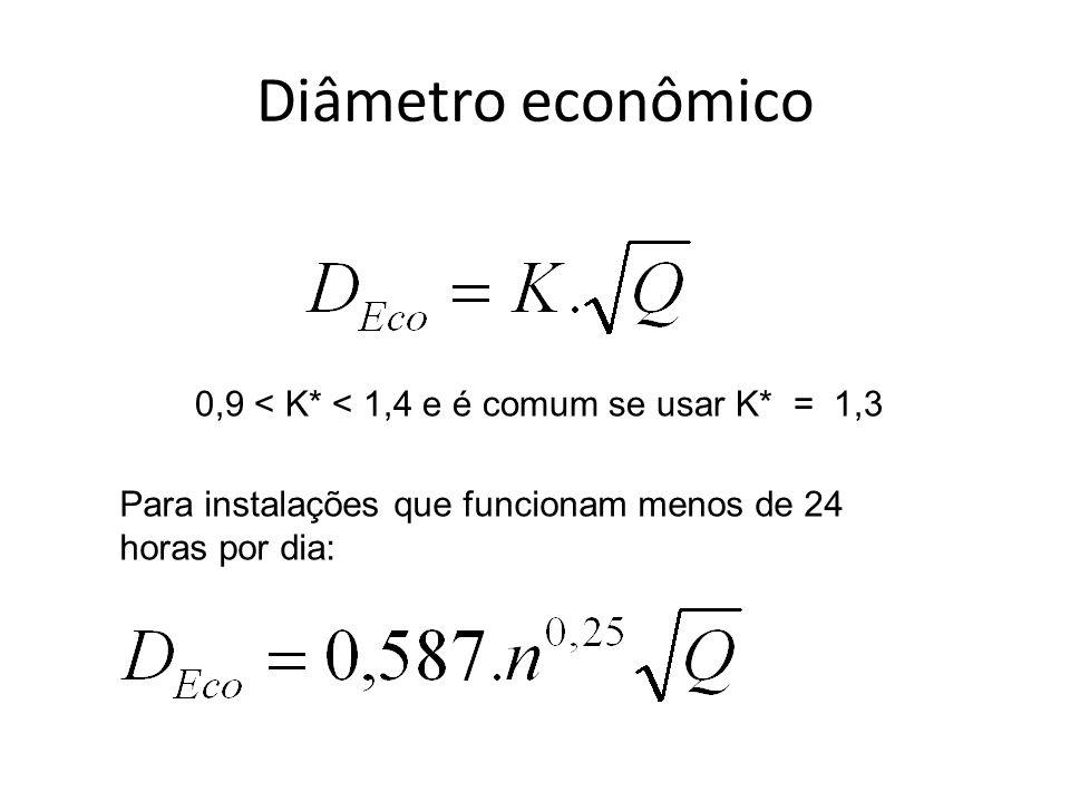 Diâmetro econômico 0,9 < K* < 1,4 e é comum se usar K* = 1,3