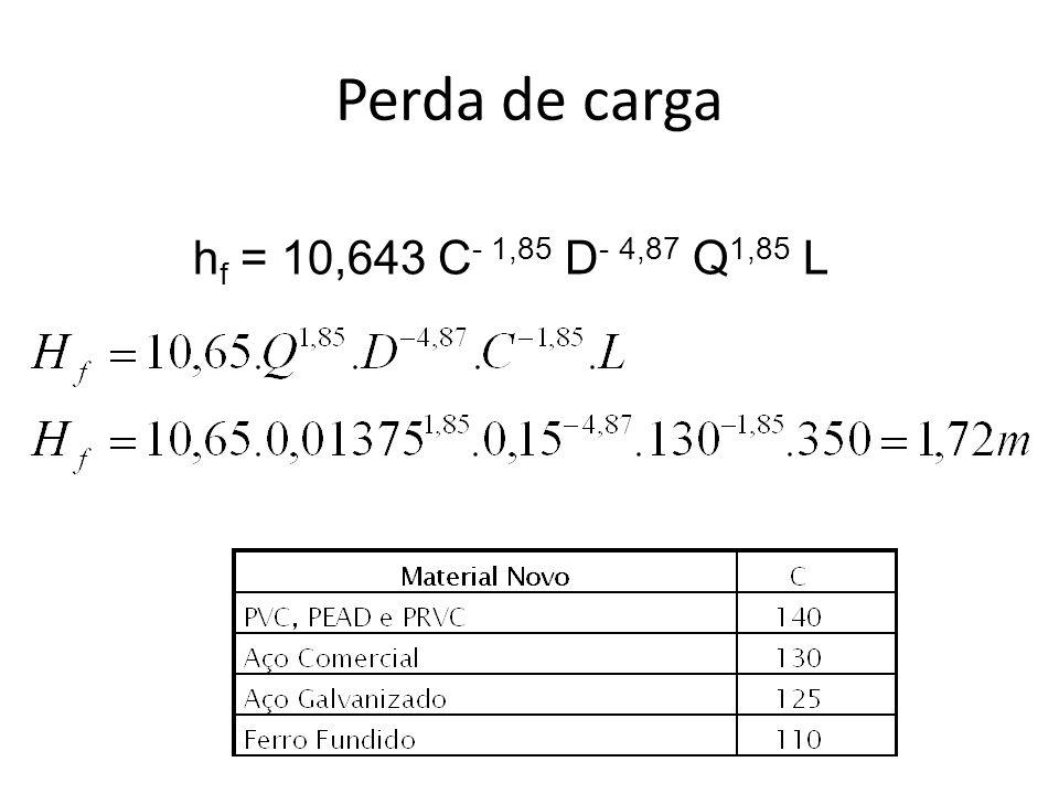 Perda de carga hf = 10,643 C- 1,85 D- 4,87 Q1,85 L