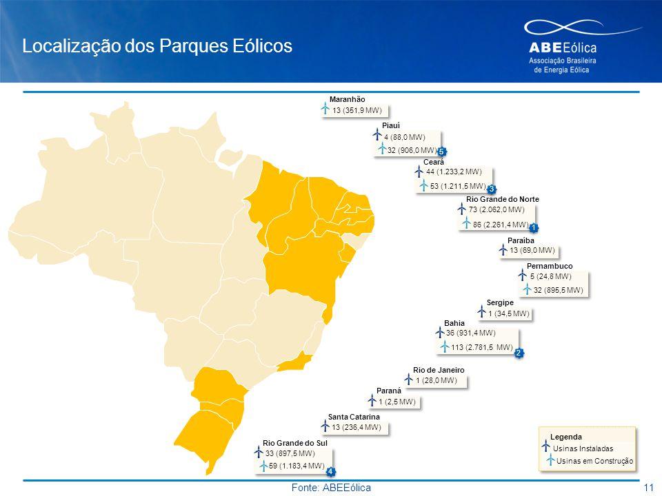 Localização dos Parques Eólicos