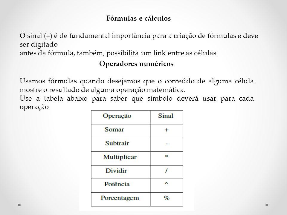 Fórmulas e cálculos O sinal (=) é de fundamental importância para a criação de fórmulas e deve ser digitado.