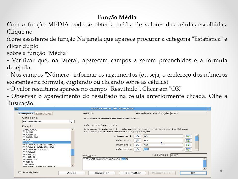 Função Média Com a função MÉDIA pode-se obter a média de valores das células escolhidas. Clique no.