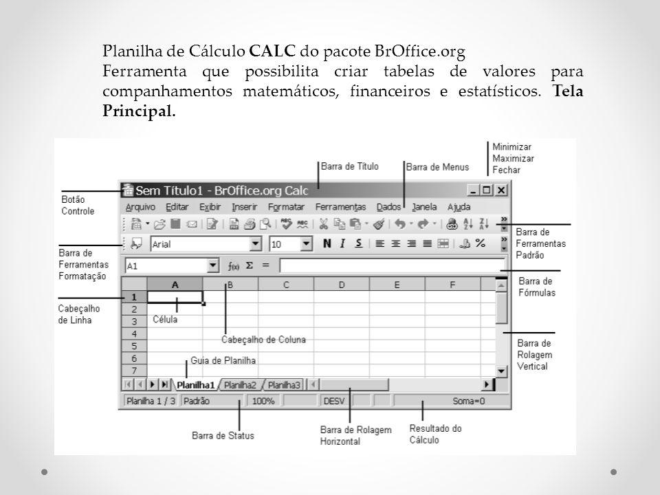 Planilha de Cálculo CALC do pacote BrOffice.org