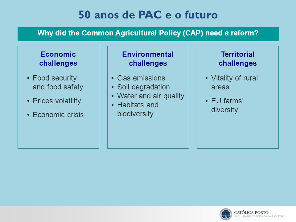 50 anos de PAC e o futuro Why did the Common Agricultural Policy (CAP) need a reform Economic challenges.