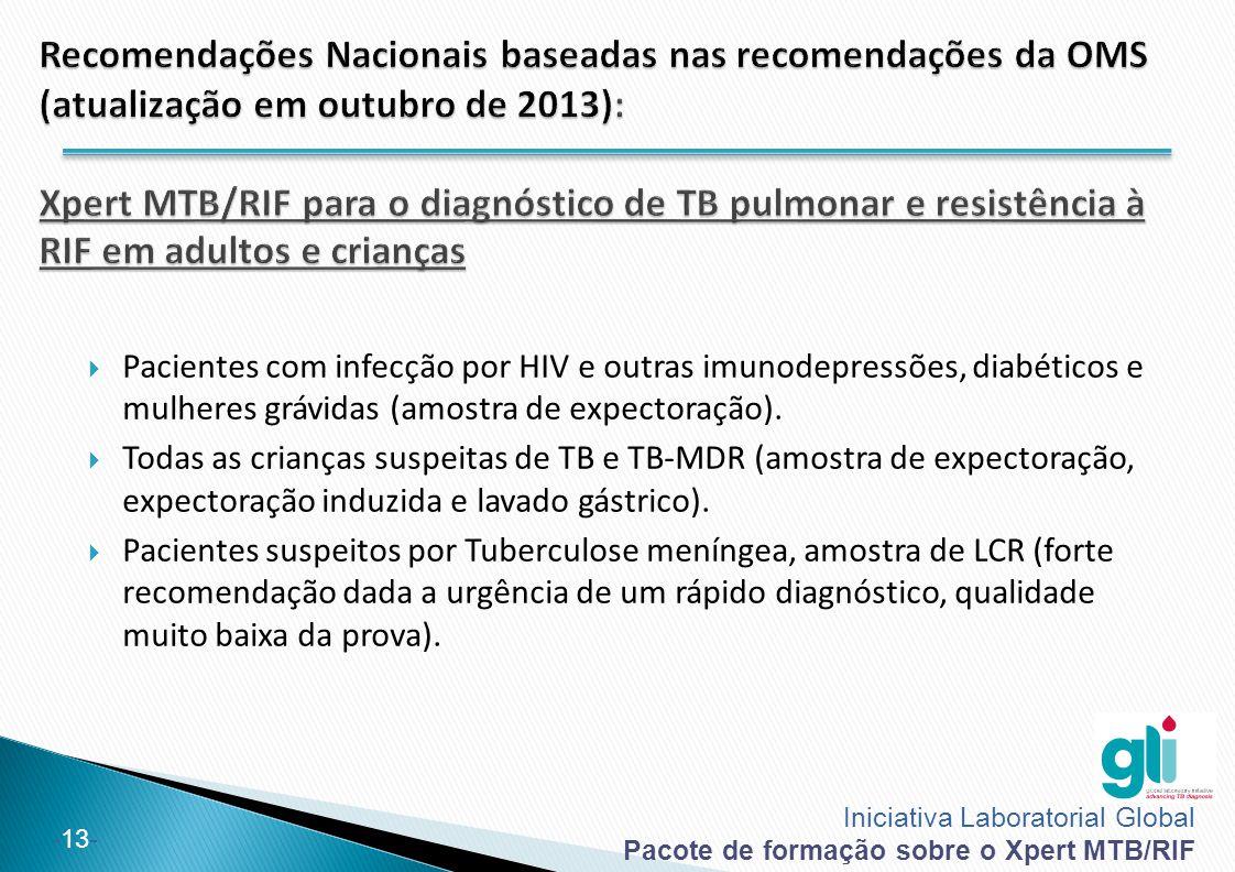 Recomendações Nacionais baseadas nas recomendações da OMS (atualização em outubro de 2013): Xpert MTB/RIF para o diagnóstico de TB pulmonar e resistência à RIF em adultos e crianças