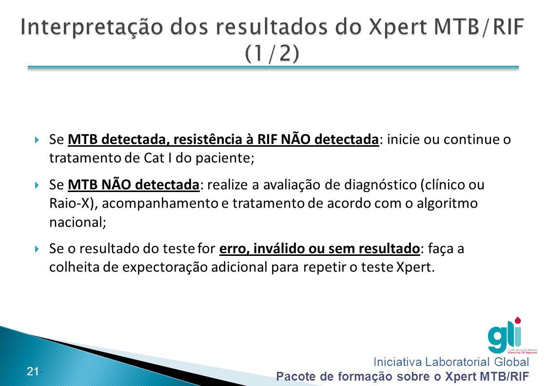 Interpretação dos resultados do Xpert MTB/RIF (1/2)