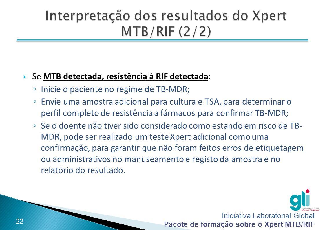Interpretação dos resultados do Xpert MTB/RIF (2/2)