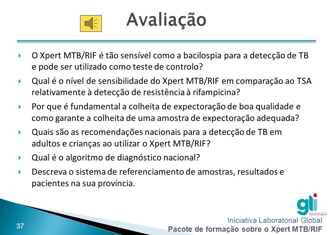 Avaliação O Xpert MTB/RIF é tão sensível como a bacilospia para a detecção de TB e pode ser utilizado como teste de controlo
