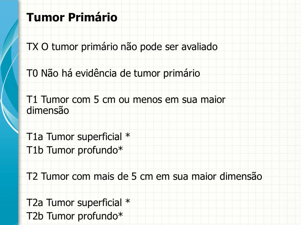 Tumor Primário TX O tumor primário não pode ser avaliado