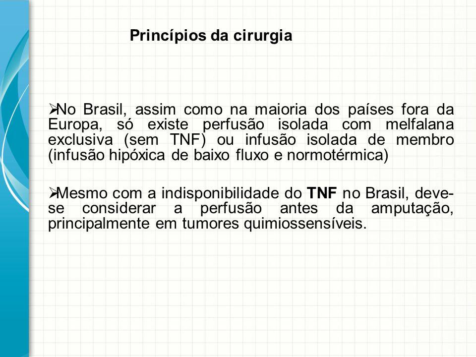 No Brasil, assim como na maioria dos países fora da Europa, só existe perfusão isolada com melfalana exclusiva (sem TNF) ou infusão isolada de membro (infusão hipóxica de baixo fluxo e normotérmica)