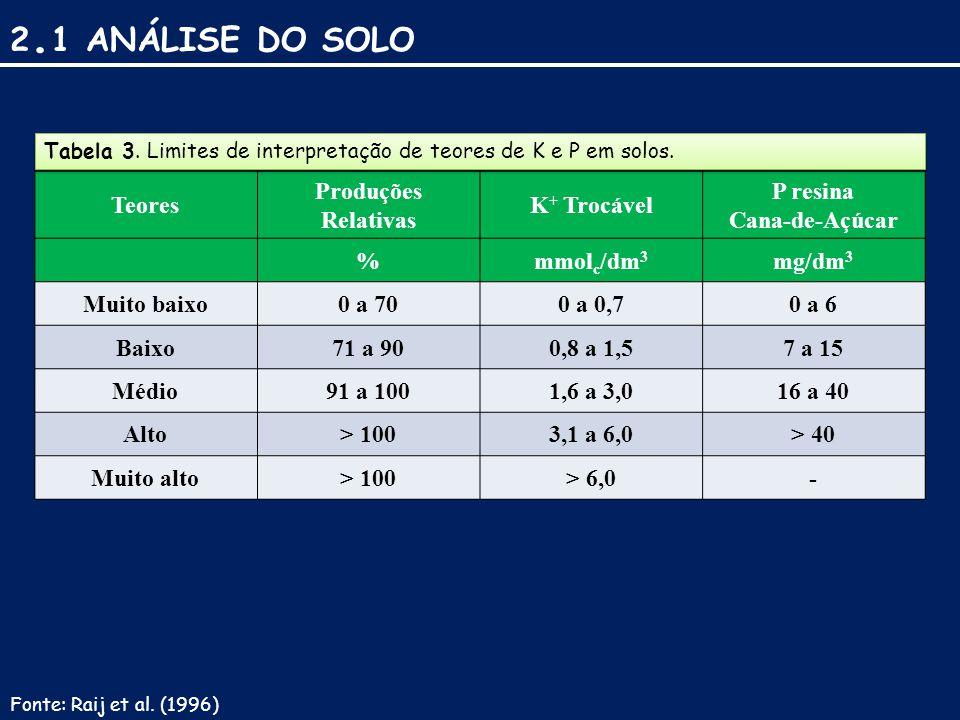 2.1 ANÁLISE DO SOLO Teores Produções Relativas K+ Trocável P resina
