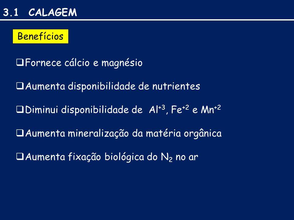 3.1 CALAGEM Fornece cálcio e magnésio
