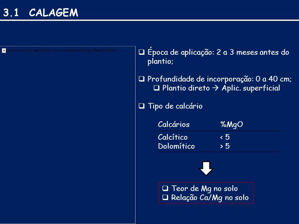 3.1 CALAGEM Época de aplicação: 2 a 3 meses antes do plantio;