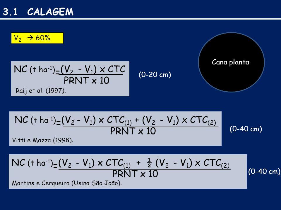 NC (t ha-1)=(V2 - V1) x CTC(1) + (V2 - V1) x CTC(2)