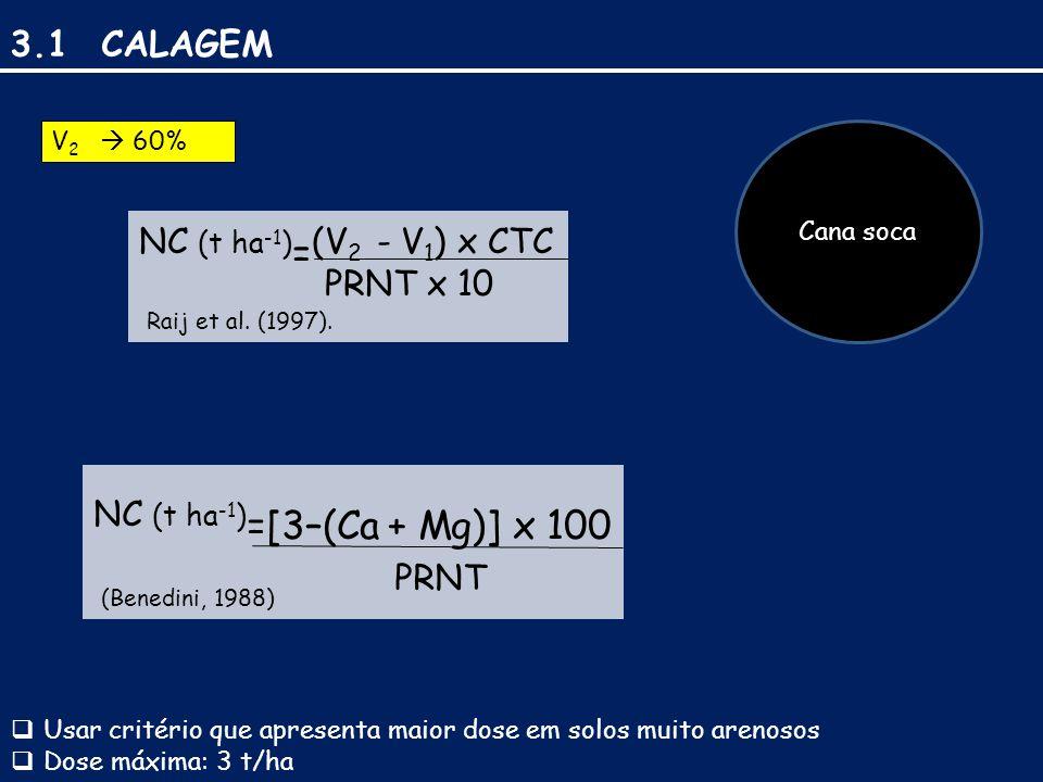 3.1 CALAGEM NC (t ha-1)=(V2 - V1) x CTC PRNT x 10