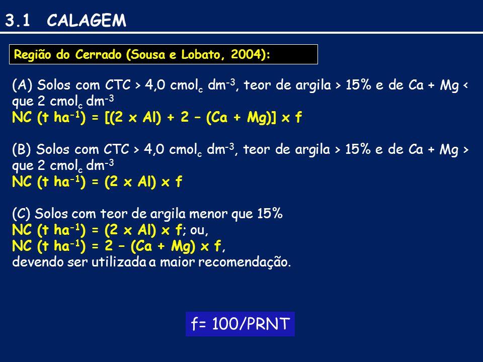 3.1 CALAGEM Região do Cerrado (Sousa e Lobato, 2004): (A) Solos com CTC > 4,0 cmolc dm-3, teor de argila > 15% e de Ca + Mg < que 2 cmolc dm-3.