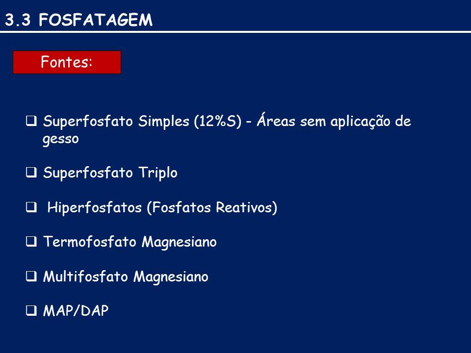 3.3 FOSFATAGEM Fontes: Superfosfato Simples (12%S) - Áreas sem aplicação de gesso. Superfosfato Triplo.