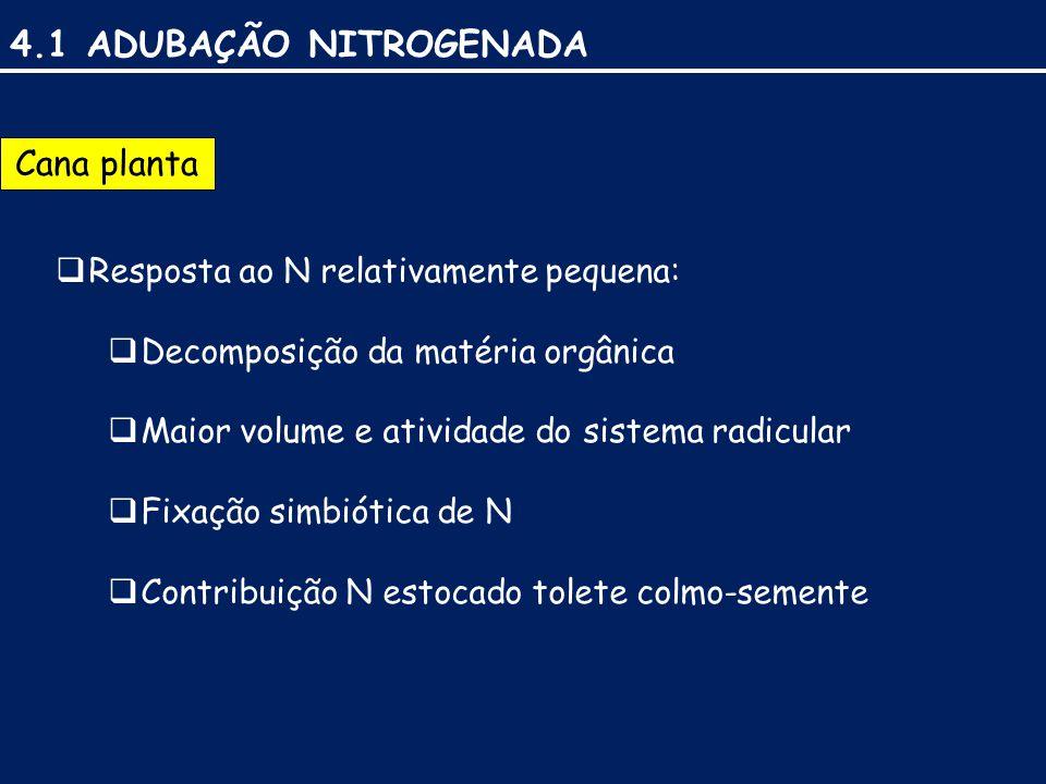 4.1 ADUBAÇÃO NITROGENADA Cana planta