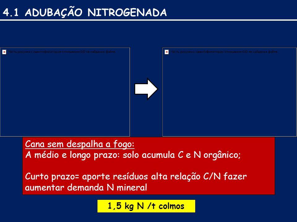 4.1 ADUBAÇÃO NITROGENADA Cana sem despalha a fogo: