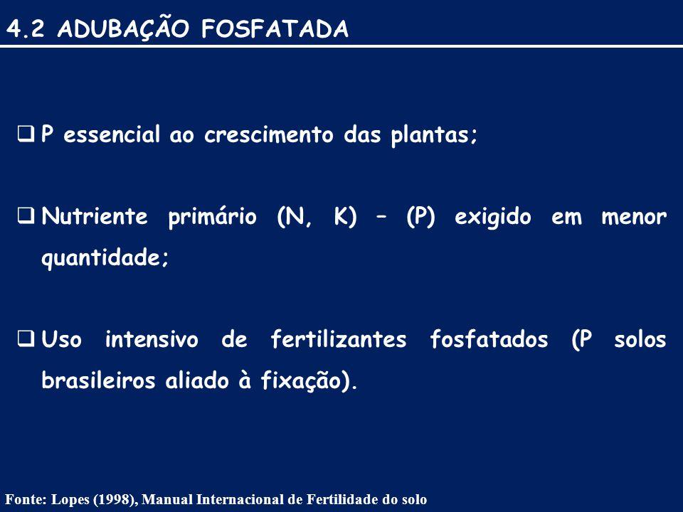 4.2 ADUBAÇÃO FOSFATADA P essencial ao crescimento das plantas;