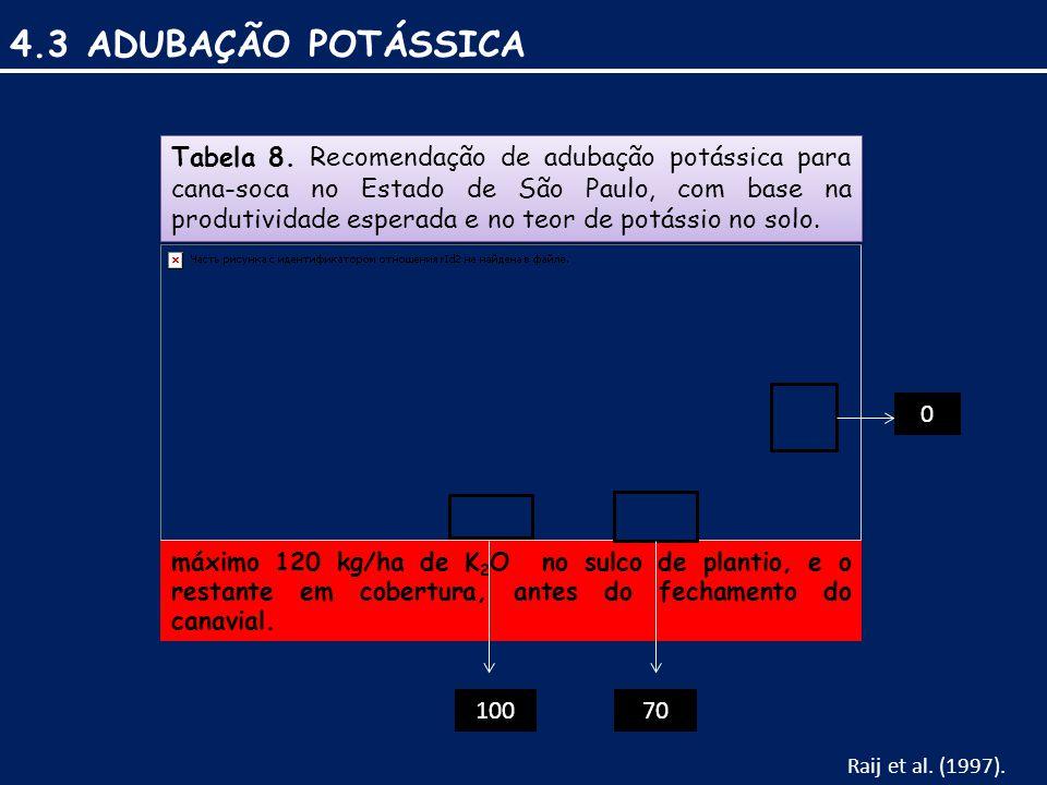 4.3 ADUBAÇÃO POTÁSSICA