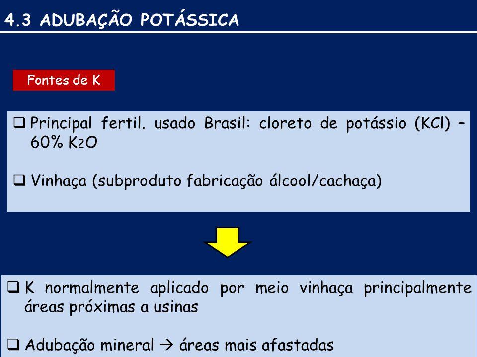 4.3 ADUBAÇÃO POTÁSSICA Fontes de K. Principal fertil. usado Brasil: cloreto de potássio (KCl) – 60% K2O.