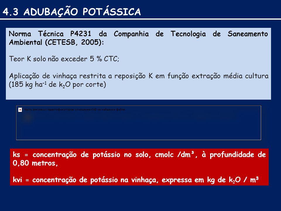 4.3 ADUBAÇÃO POTÁSSICA Norma Técnica P4231 da Companhia de Tecnologia de Saneamento Ambiental (CETESB, 2005):