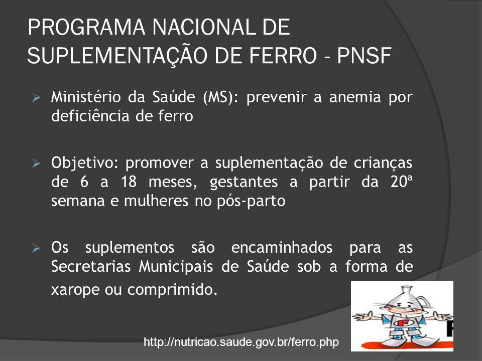 PROGRAMA NACIONAL DE SUPLEMENTAÇÃO DE FERRO - PNSF