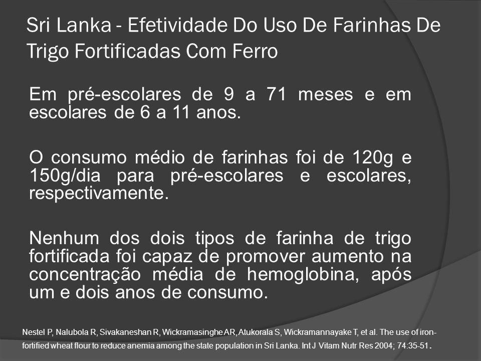 Sri Lanka - Efetividade Do Uso De Farinhas De Trigo Fortificadas Com Ferro
